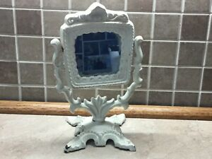 "Beautiful Antique Style Cast Iron Vanity Mirror Victorian OrnateTilts 9"""