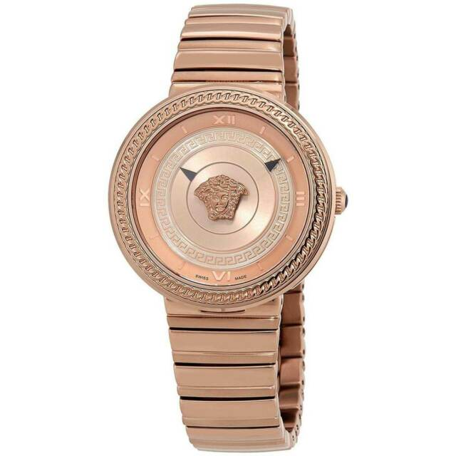 Versace Vlc140017 V Metal Icon Ladies Rose Gold Tone Watch 40mm For Sale Online Ebay