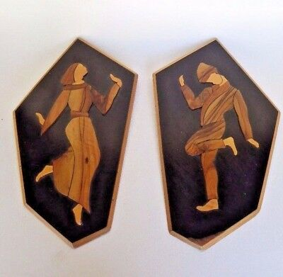 Wooden Wall Art Plaques Wood Inlay Carved Vintage Couple Applique Made In Israel Ebay