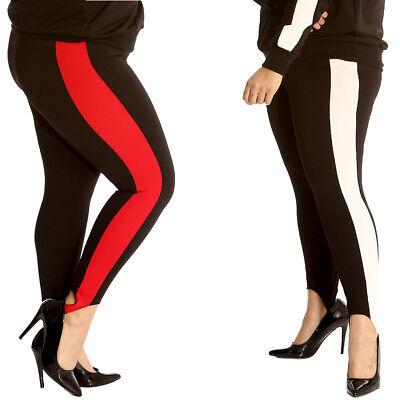 New Womens Plus Size Leggings Ladies Stripe Print Waist Cropped Trouser Nouvelle