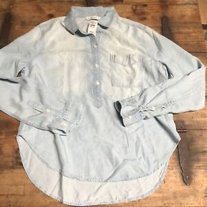 d3c5a1a2 Image is loading NWT-Abercrombie-amp-Fitch-Womens-Chambray-Denim-Button-
