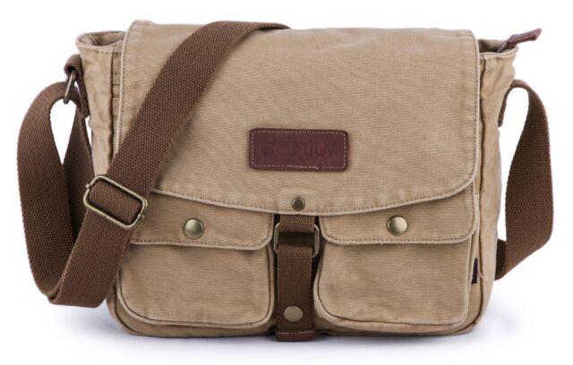 Gootium Canvas Leather Vintage Messenger Bag Crossbody Shoulder Bag Unisex Purse
