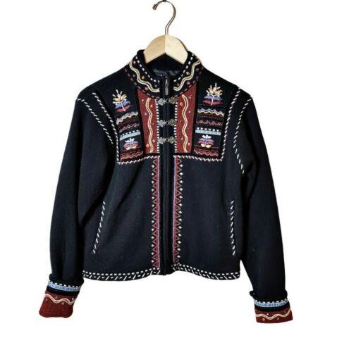 ICELANDIC DESIGN Zip Sweater Coat Black Embroidere