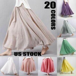 Vintage-Women-Lady-Maxi-Boho-Pleated-Beach-Long-Cotton-Linen-Dress-Casual-Skirt
