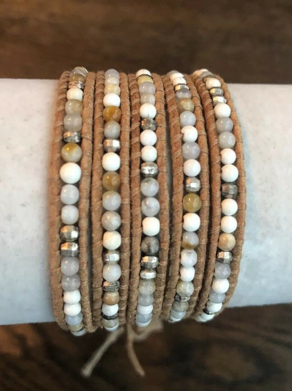 New Auth Chan Luu White Mix Five Wrap Bracelet on Beige Leather