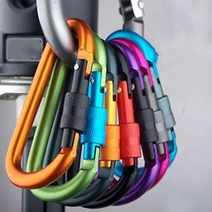 5X Aluminum Carabiner D-Ring Clip Hook Camping Keychain Screwgate Screw LockingP