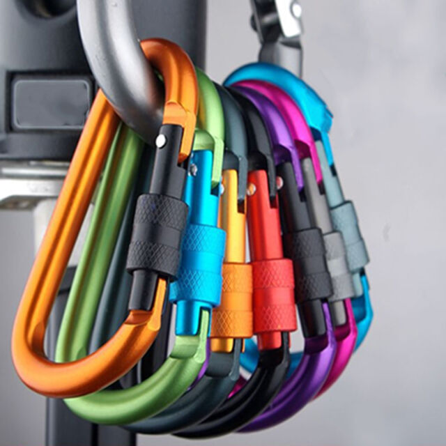 5X Outdoor D-Ring Aluminum Screw Locking Carabiner Hook Clip Climbing KeychaiR8Y