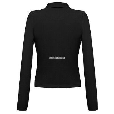 Women Long Sleeve Asymmetric Hem Blazer Front Open Solid Lapel OL Business N98B