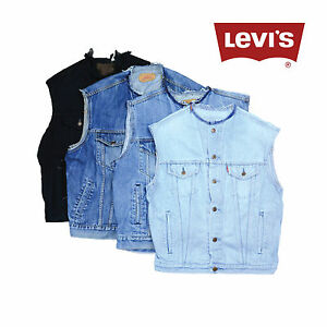 vintage levis sans col sans manche veste en jeans gilets xs s m l xl xxl ebay. Black Bedroom Furniture Sets. Home Design Ideas