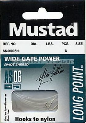 NEW 24 x MUSTAD 3 Packs HOOKS To NYLON Size 20 to 2lb Barbed Hook AS06