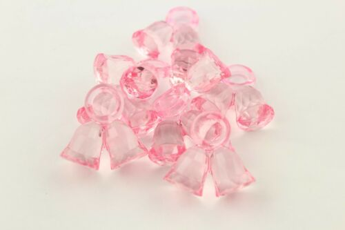 Church Bell 25 x Baby Pink Plastic Bell Charms Pram Charms Dummy Clips #C-182