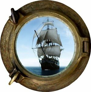 Huge-3D-Porthole-Pirate-Schooner-Ship-View-Wall-Stickers-Film-Mural-Decal-499