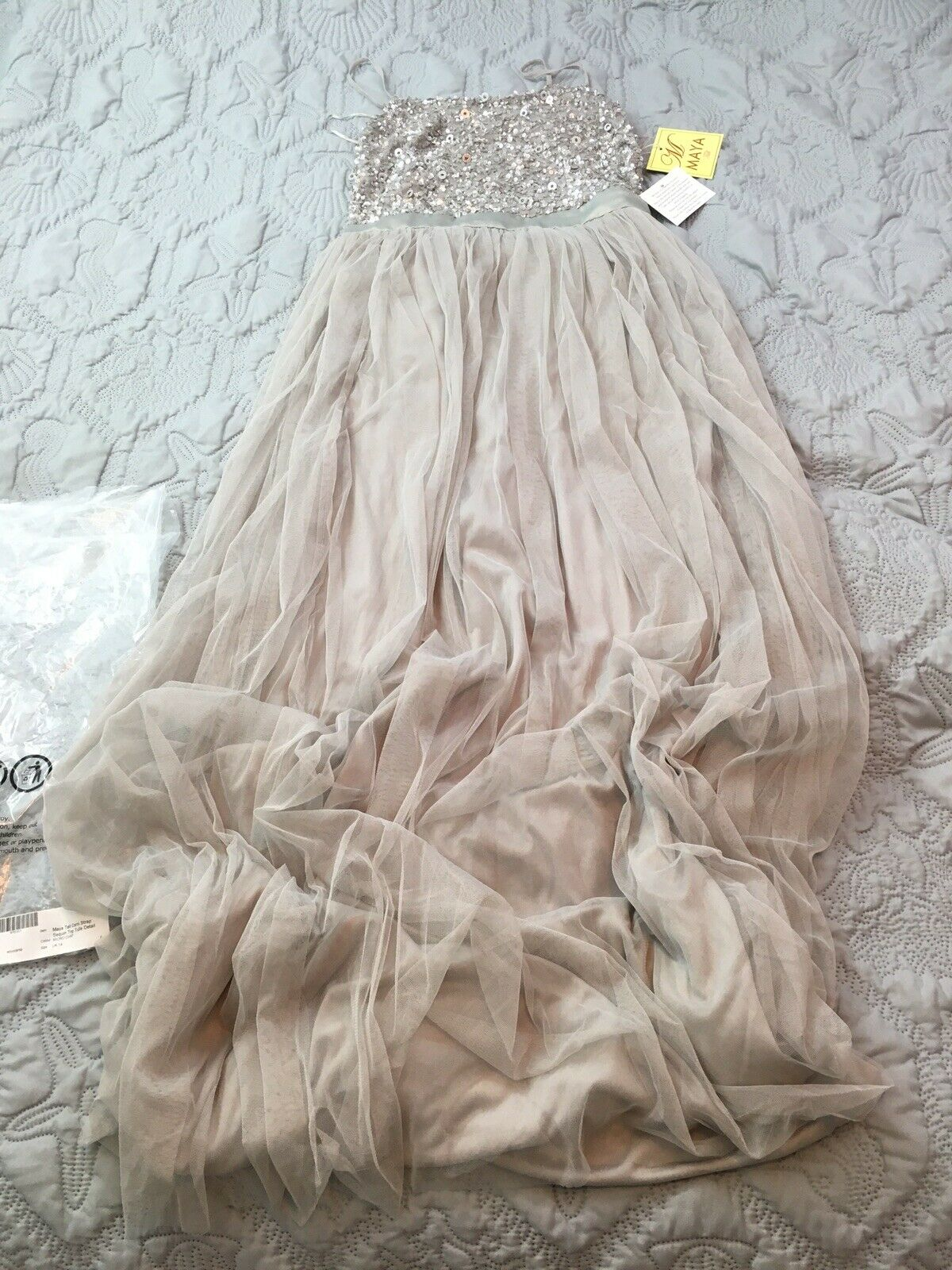ASOS Maya Tall Cami Strap Sequin Top Tulle Detail Maxi Bridesmaid Maxi Dress 10