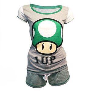 2063828d Nintendo Super Mario Bros Green 1-up Mushroom Shortama Nightwear Set ...