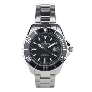 Croton-Men-039-s-CA301294BKBK-Automatic-Black-Dial-Silver-Tone-Bracelet-42mm-Watch