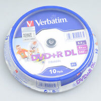 10pcs DVD+R DL Dual Layer 8.5GB 240min 8X Inkjet White Printable Blank Disc Pack