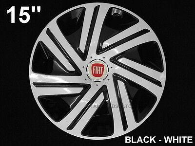 15'' Wheel trims Hub Cups for Fiat Punto 500 Doblo Scudo 4 x 15'' white - black