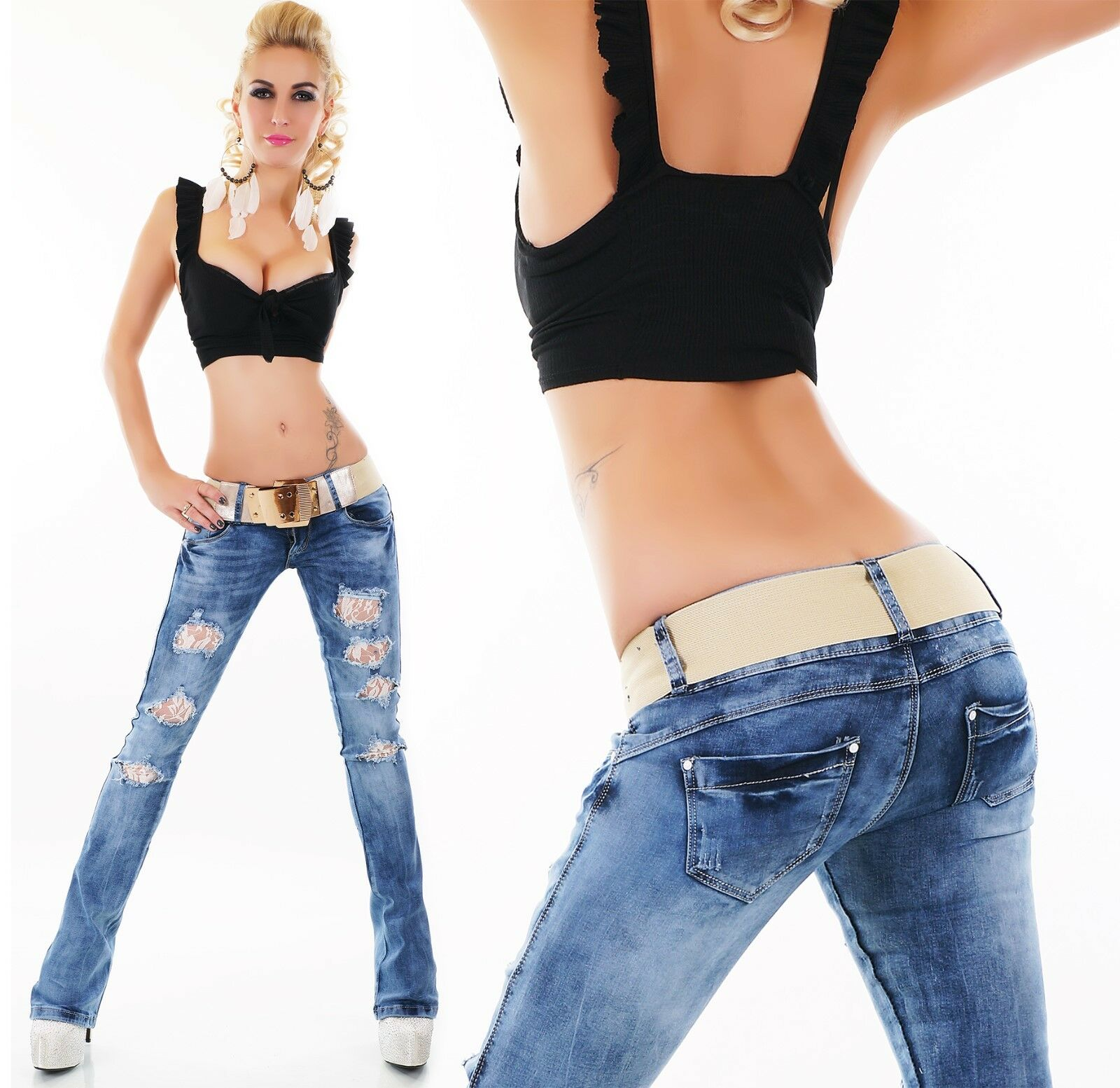 SeXy SeXy SeXy Damen MiSS Retro Risse Spitze Hüft Hose LoW CuT Jeans Gürtel 32 34 36 38 40   Outlet Online Store    Wunderbar    Spielzeug mit kindlichen Herzen herstellen  0eb18d