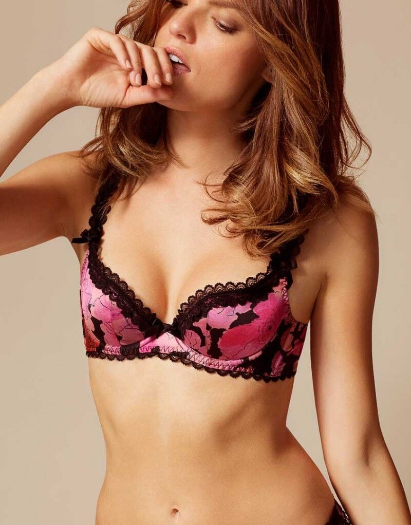 Agent Provocateur JUNE Floral Stretch Silk Bra in Pink Multi Ret  New w Tags