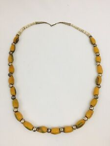 Vintage Indian Sterling Silver Trading Beads Necklace Trading Sand Glass 33 Ebay