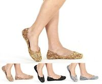 Womens Ladies Flat Ballerina Ballet Casual Soft Glitter Jelly Pumps Shoes