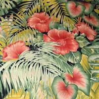 Vintage Hawaiian Print Cotton Green Lau Lau Ku'puku'pu, Terra Cotta Kokio 60w
