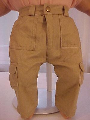 6 POCKET KHAKI CARGO JEANS with Zipper Beltloops /& Snap fits Bitty Baby//Twins