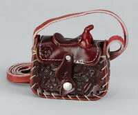 Western Leather Saddle Change Purse Hand Tooled Burgundy Cowgirl