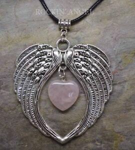 Large-Antique-Silver-Pl-Angel-Wing-Pendant-amp-Rose-Quartz-Heart-Necklace-Ladies