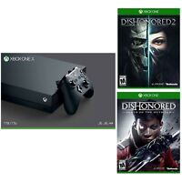 Microsoft Xbox One X 1TB Console (Black) + Dishonored 2 + Dishonored: Death of the Outsider