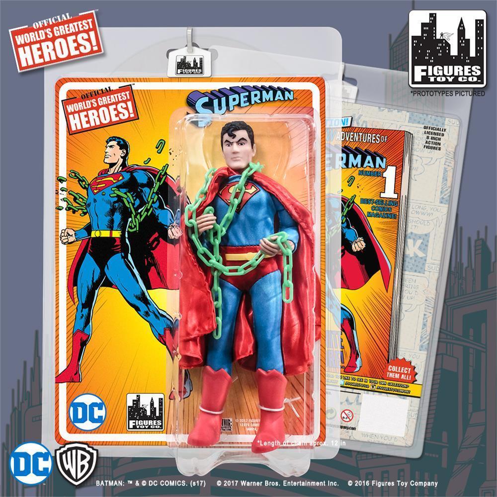Dc comics retro - 8 - zoll - action - figur superman mit grnen kryptonit kette
