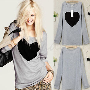 De-Moda-para-Dama-Camiseta-Mujer-Blusa-Tops-Holgado-Manga-Larga-Informal-Sueter