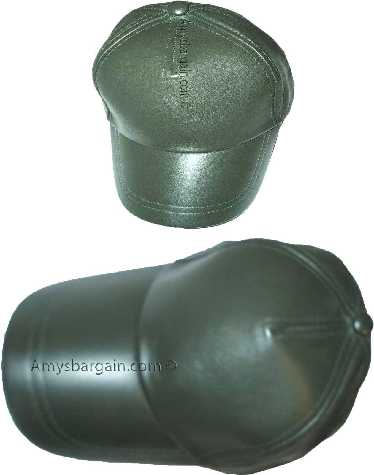 Lot Baseball of 2 New leather Baseball Lot caps Green leather cap Head wear fashion hat BNWT 72a91d