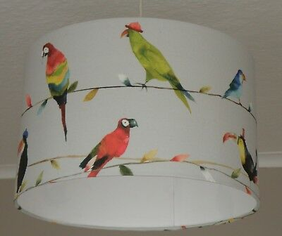 TROPICAL TOUCAN BIRDS FLORAL HANDMADE LAMPSHADE CEILING TABLE 935 TEAL NAVY YELL