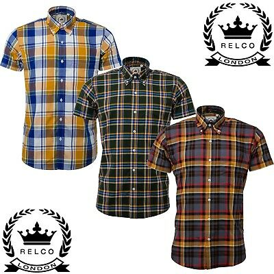 Relco Men/'s Green Tartan Checked Short Sleeved Button Down Collar Skins Shirt