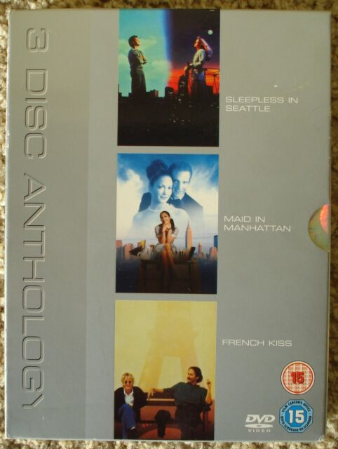 3xDISC DVDs: SLEEPLESS IN SEATTLE – MAID IN MANHATTAN – FRENCH KISS