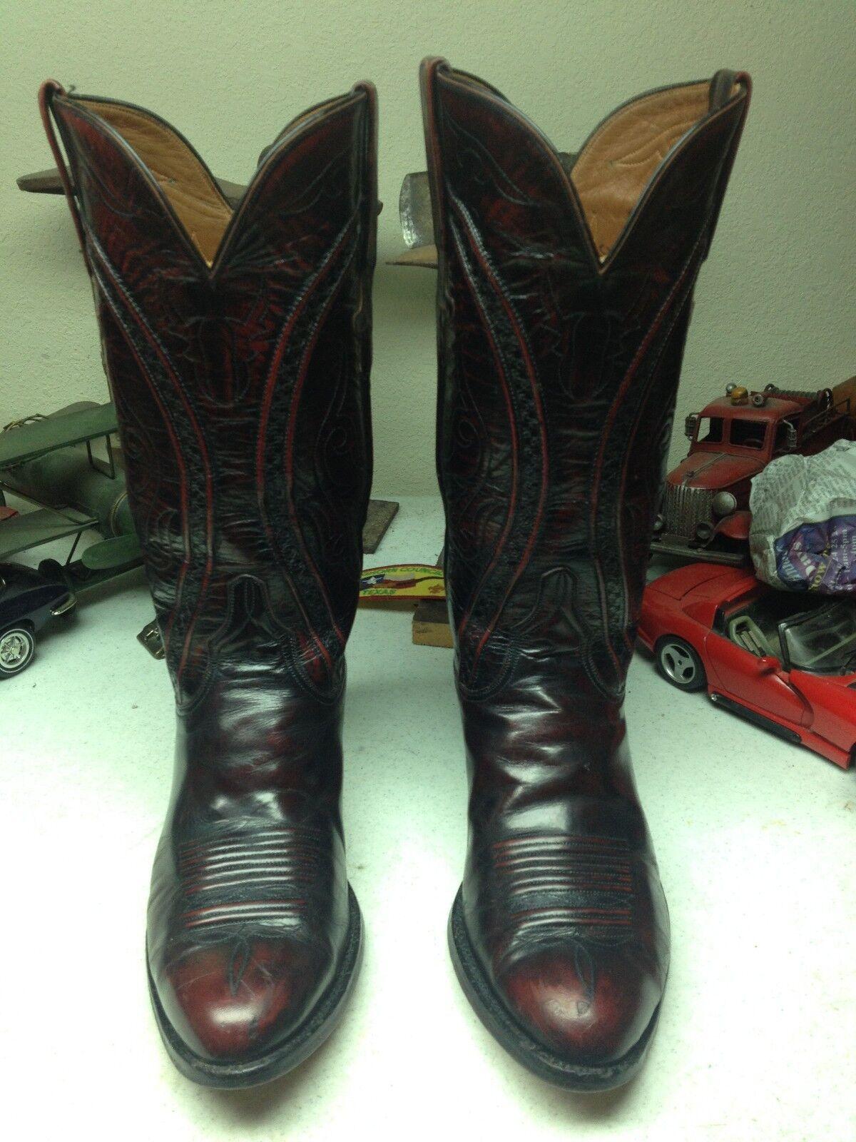 Vintage Envejecido Lucchese USA Cereza Negra Cuero Trail Boss botas de vaquero 8EE