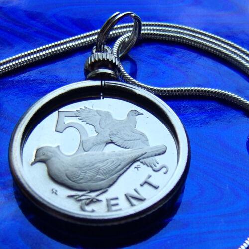 """LA PAIX COLOMBE coin proof Virgin Islands Paix Pendentif sur un 18/"""" Argent .925 Chaîne"""