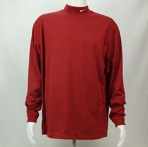 Nike-Golf-Long-Sleeve-Mock-Turtle-Neck-Dri-Fit-Shirt-Red-Men-039-s-Large
