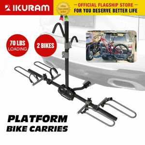 "IKURAM 2 Bike Bicycle Platform 2"" Heavy Duty Hitch Mount Carrier Rack Car Truck"