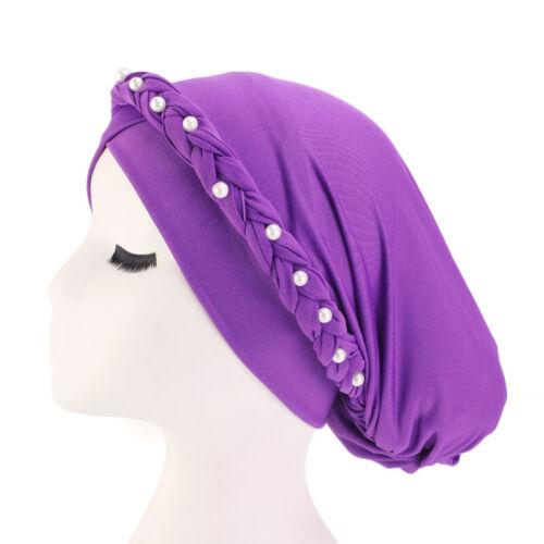 Women Beads Elastic Hair Loss Cancer Chemo Cap Muslim Turban Hat Hijab Head Wrap