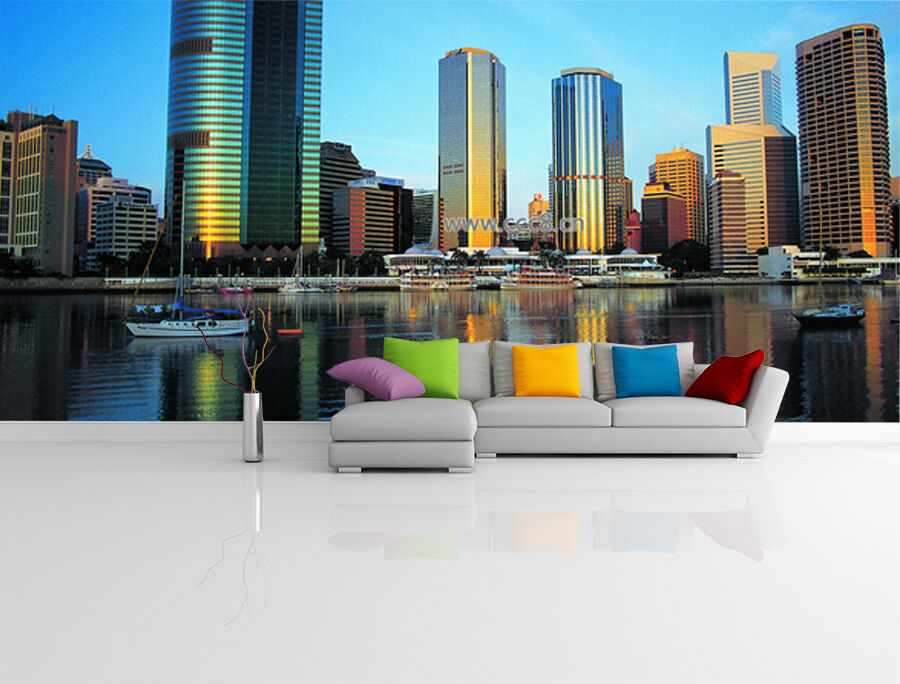 3D City reflection 443 WallPaper Murals Wall Print Decal Wall Deco AJ WALLPAPER