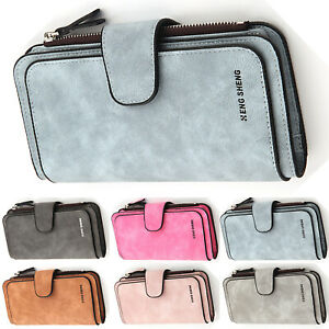 34e0a9e62c7a5 Das Bild wird geladen Damen-Portemonnaie-Lange -Geldboersen-Kunstleder-Geldbeutel-Portmonee-Brieftasche