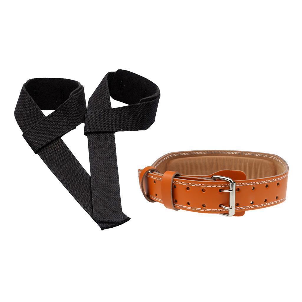Padded Weight Lifting Training Gym Straps Hand Bar Wrist Support + Belt Set
