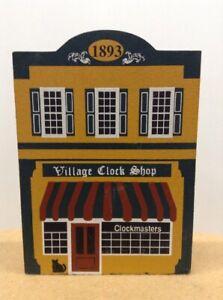 VINTAGE CATS MEOW WOOD HOUSE BUILDING VILLAGE CLOCK SHOP CLOCKMASTER 1893