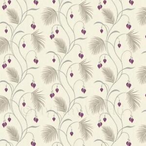 Puppenhaus-Miniatur-grosse-Farn-mit-lila-Blumen-Tapete
