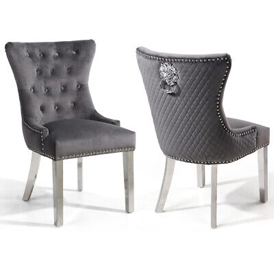 Amazing Pair Of Lewton Grey Velvet Quilted Lion Head Wing Back Knocker Dining Chairs Ebay Pabps2019 Chair Design Images Pabps2019Com