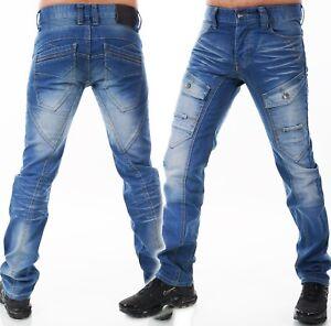 Herren Jeans Hose Loose Fit Men´s Wear Aufgesetzte Taschen Leichte Waschung Blau