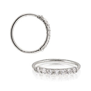 Sterling-Silver-925-Silver-Black-Gold-Rose-Gold-7-CZ-Hoop-Ear-Nose-Ring-20G