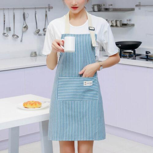 Apron Stripe Sleeveless With Pocket Anti Dirty Cotton Kitchen Adult Home p